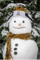 Snowman wearing Appalachian hat and black and gold scarf
